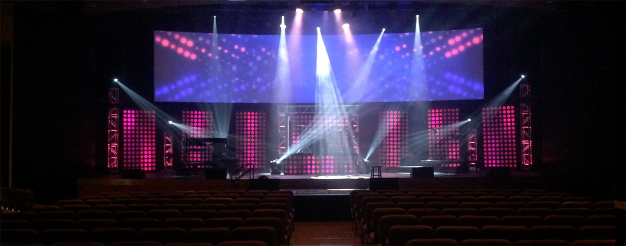 Pixel Dots Church Stage Design Ideas