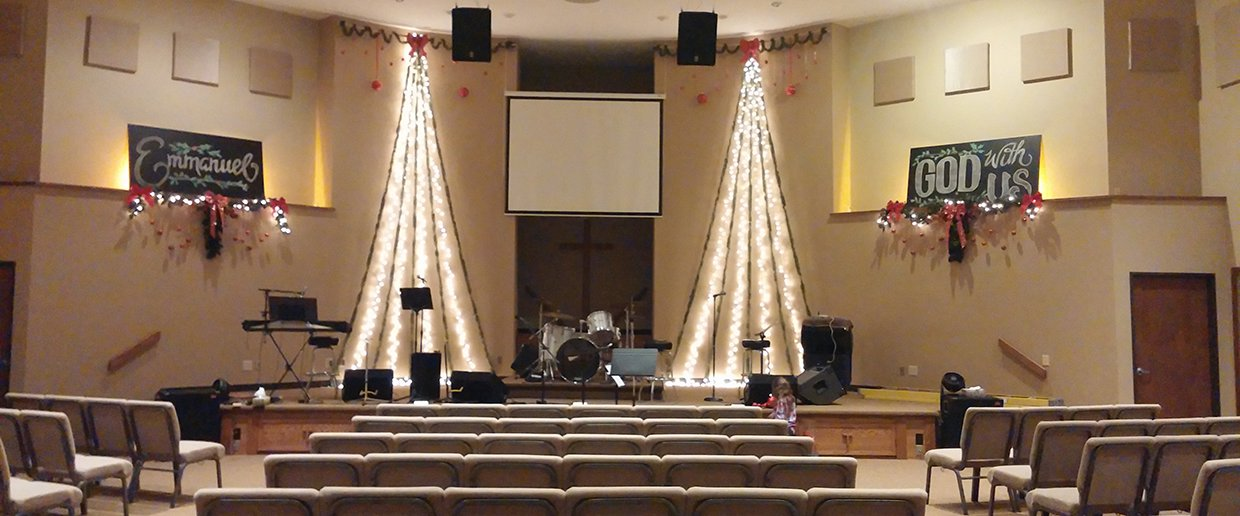 Christmas Chalk Church Stage Design Ideas