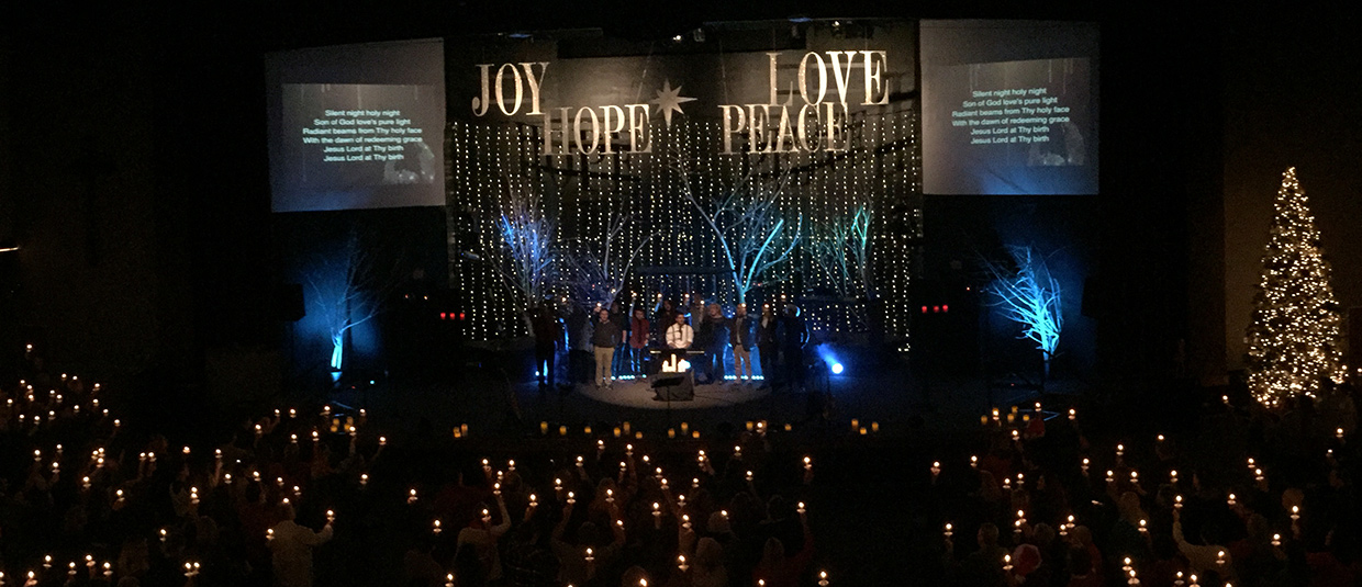 Words Over Stars Church Stage Design Ideas