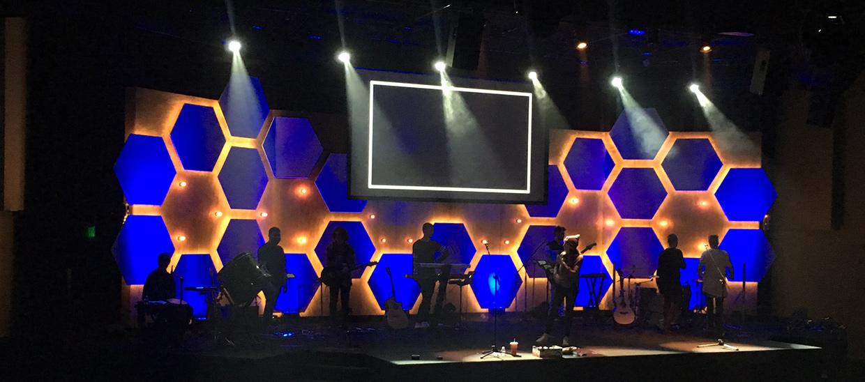 Lit Hive Church Stage Design Ideas