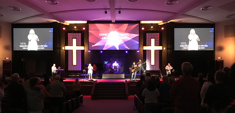 Cross Plaque Church Stage Design Ideas