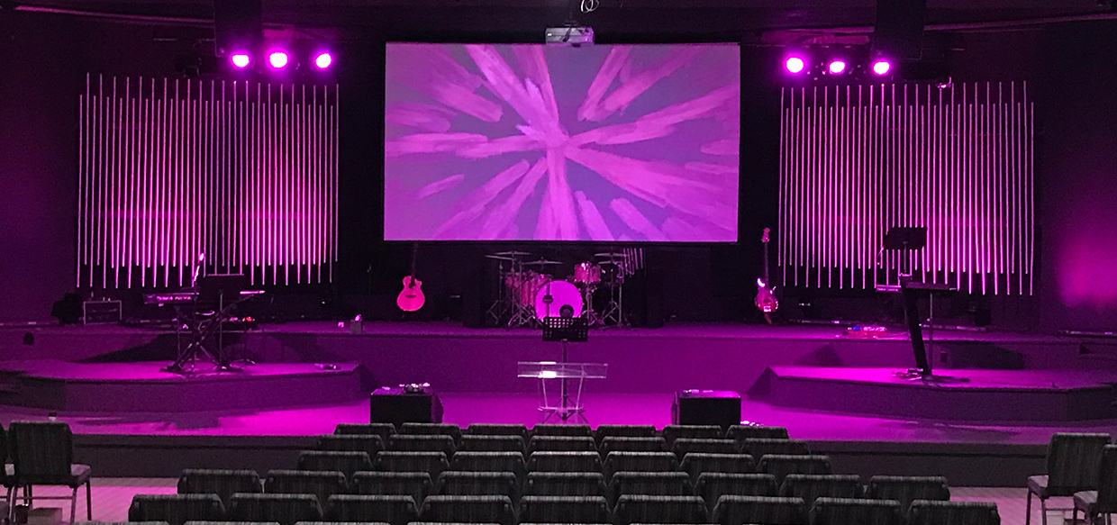 Neon Tubes Church Stage Design Ideas