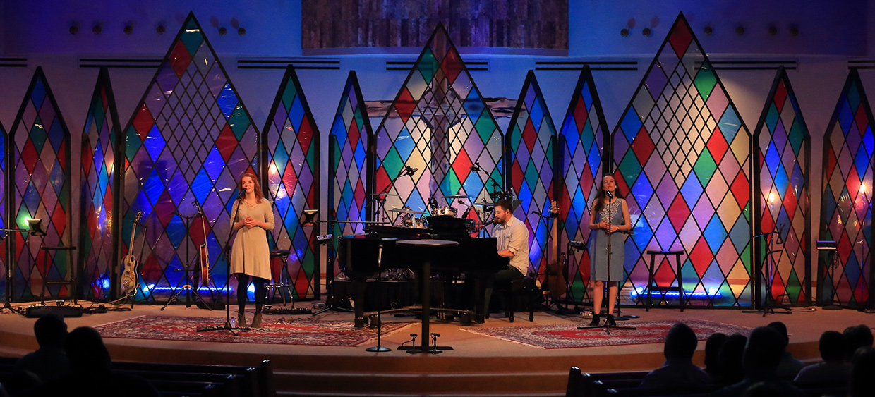 Stained Glass Everywhere Church Stage Design Ideas