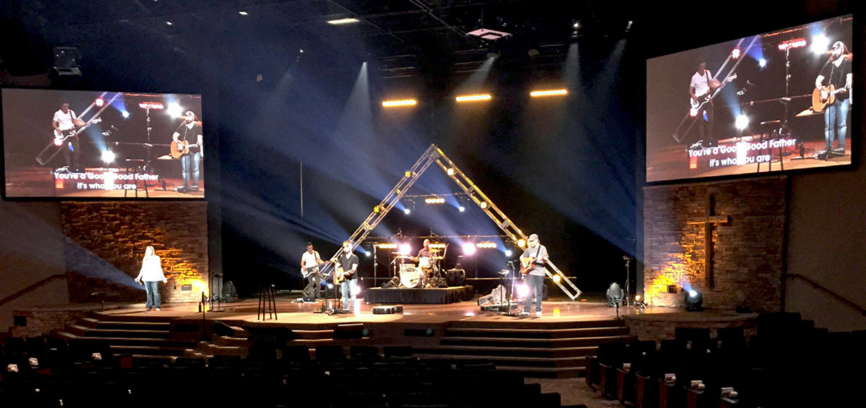 Lit Up Church Stage Design Ideas