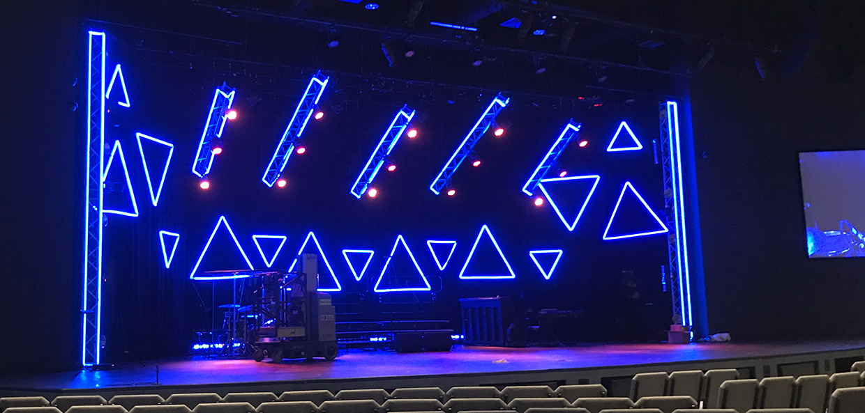 Floating Truss And Led Tape Combo Church Stage Design Ideas