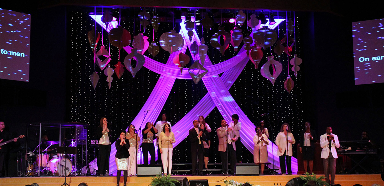 Throwback Cardboard Ornaments Church Stage Design Ideas